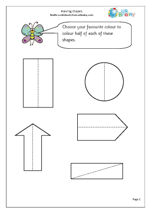 Halving shapes Fractions Maths Worksheets For Year 1 (age 5-6)