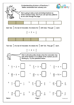 Preview of worksheet Understand division of fractions (1)