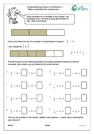Preview of worksheet Understand division of fractions (2)