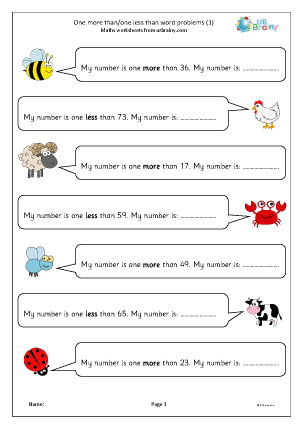 Preview of worksheet One more than one less than word problems (1)