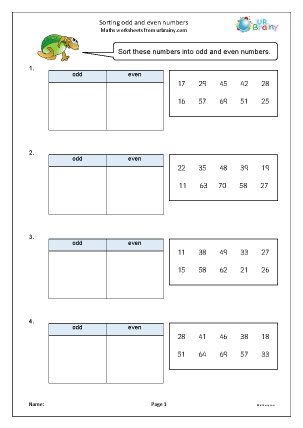 Preview of worksheet Sorting odd and even numbers