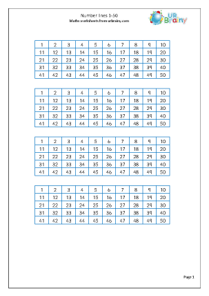 Preview of worksheet Number line 1-50