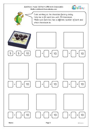 Preview of worksheet Addition: make 10 from chocolates