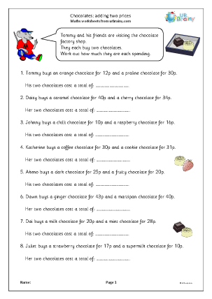 Preview of worksheet Chocolates: adding two prices