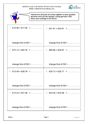 Preview of worksheet Addition and subtraction of decimals: money