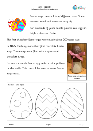 Preview of worksheet Easter eggs 1