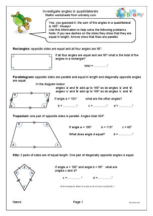 Preview of worksheet Investigate angles in a quadrilateral