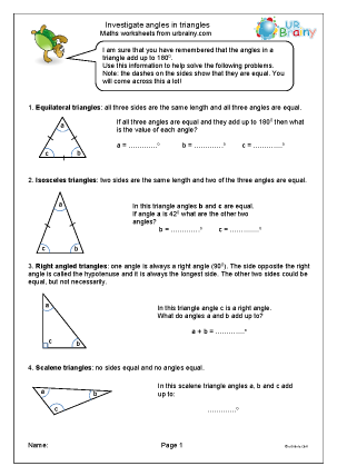 Preview of worksheet Investigate angles in triangles
