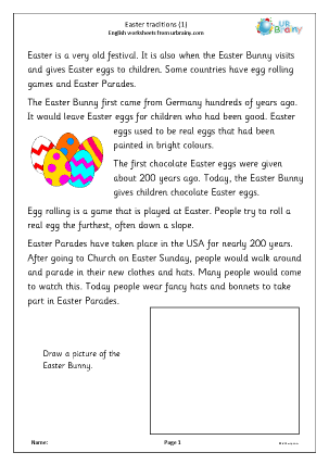 Preview of worksheet Easter traditions 1