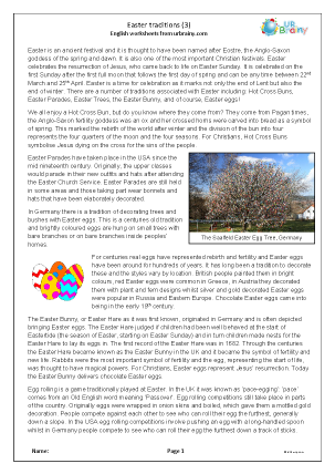 Preview of worksheet Easter traditions (3)