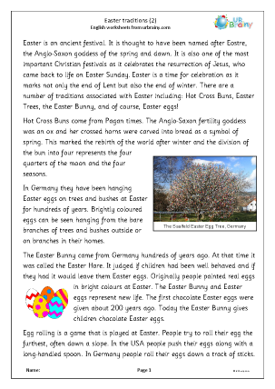Preview of worksheet Easter traditions (2)