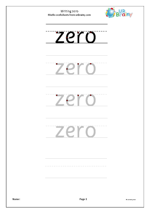 Preview of worksheet Writing Zero