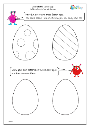 Preview of worksheet Decorate the Easter Eggs