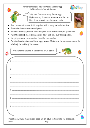 Preview of worksheet Order sentences: how to make an Easter Egg