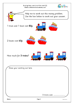 Preview of worksheet Buying toys: work out the cost (2)