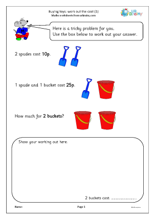 Preview of worksheet Buying toys: work out the cost (1)