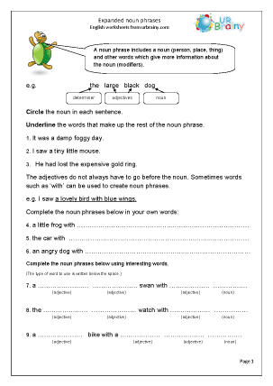 Preview of worksheet Expanded noun phrases