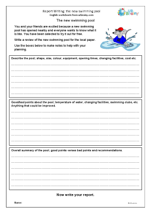Preview of worksheet Swimming pool