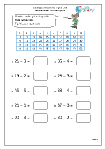 Subtract with a number grid 1-50
