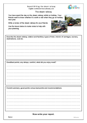 Preview of worksheet The steam railway