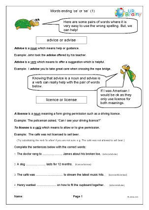 Preview of worksheet Word endings: ice or ise (1)