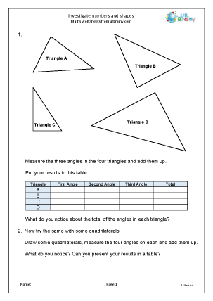 Preview of worksheet Investigate numbers and shapes