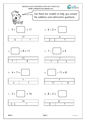 Preview of worksheet Addition and subtraction with bar models (1)