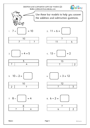 Preview of worksheet Addition and subtraction with bar models (2)