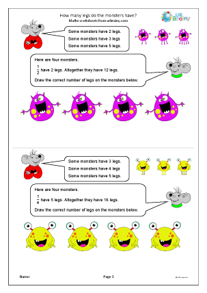 Preview of worksheet How many legs do the monsters have?