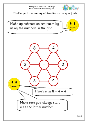 Preview of worksheet Hexagon subtraction challenge