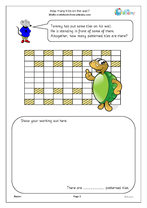 Preview of worksheet How many tiles on the wall
