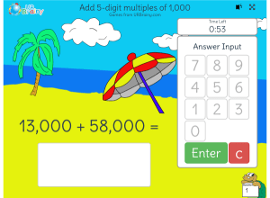 Preview of game Timed: add 5-digit multiples of 1,000