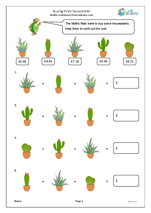 Preview of worksheet Buying three houseplants
