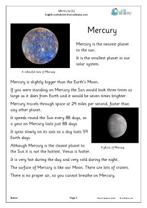 Preview of worksheet Mercury (1)
