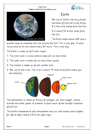 Preview of worksheet Earth (1)