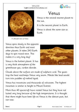 Preview of worksheet Venus (1)