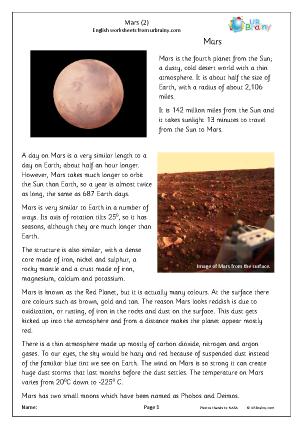 Preview of worksheet Mars (2)