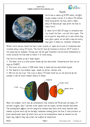 Preview of worksheet Earth (2)
