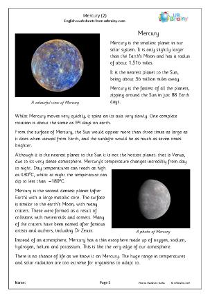 Preview of worksheet Mercury (2)