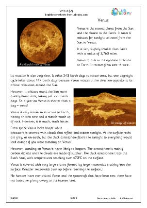 Preview of worksheet Venus (2)