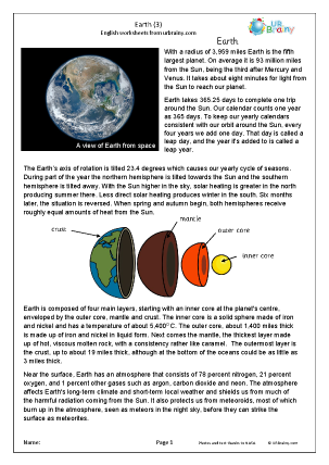 Preview of worksheet Earth (3)