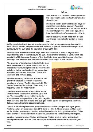 Preview of worksheet Mars (3)
