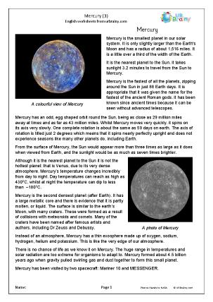 Preview of worksheet Mercury (3)