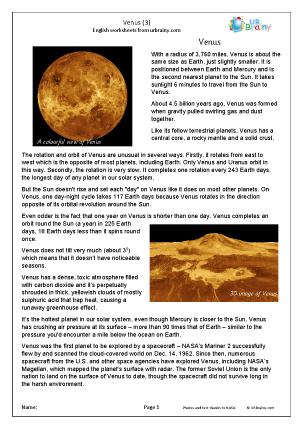 Preview of worksheet Venus (3)