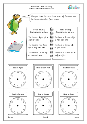 Preview of worksheet Boat times: boat spotting