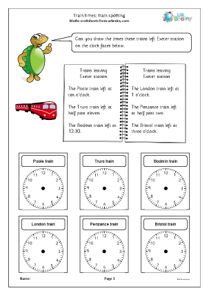 Preview of worksheet Train times: train spotting