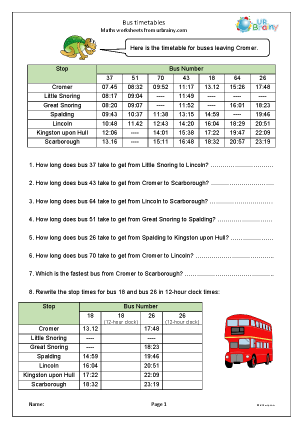 Preview of worksheet Bus timetables