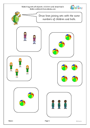 Preview of worksheet Matching sets of objects: children and beachballs