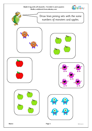 Preview of worksheet Matching sets of objects: monsters and apples