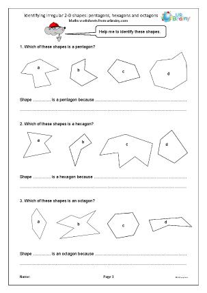 Preview of worksheet Identifying irregular 2D shapes